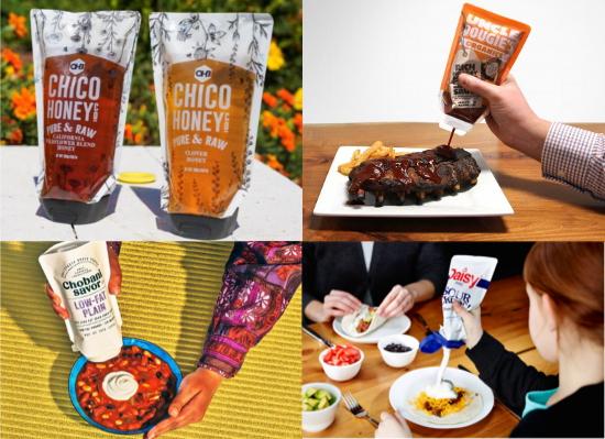 Образец дой-пака, имитирующий функционал пластиковой тубы запустили в 2018-19 г несколько производителей пищевой упаковки.